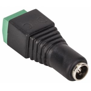 Adaptador jack invertido 2.1 mm a 2 terminales atornillables